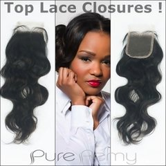 """14"""" Unprocessed Indian Hair Top Lace Closures Wavy or Curly"""