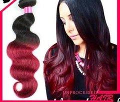 Ombre Peruvian Virgin Hair Red Ombre Peruvian Hair Burgundy Hair Body Wave Wavy 1pcs lot 1B Red 1Pcs Lot Tangle Free
