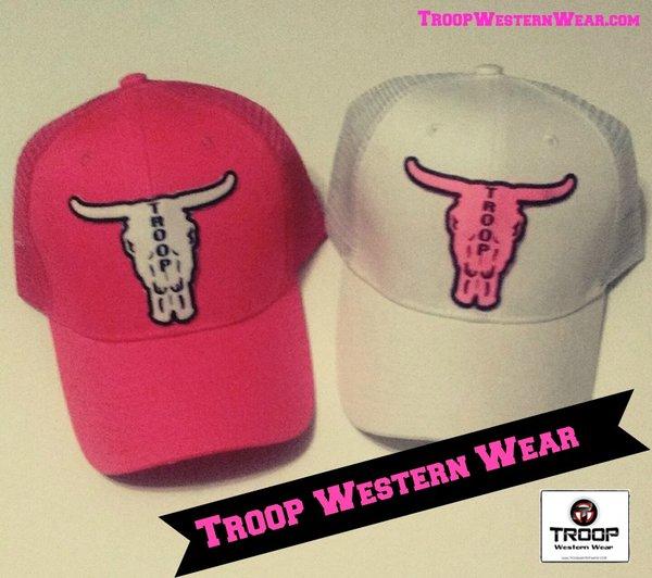 Troop Caps - Hot Pink Steer Skull Caps  1fdbff13ed9