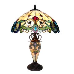 DULCE 18 Inch 3-Light Double Lit Victorian Tiffany Style Table Lamp, CH18767IV18-DT3