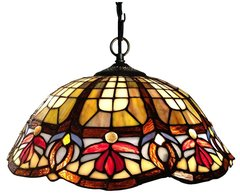 VICTORIAN 16 Inch 2-Light Tiffany Style Victorian Hanging Pendant, CH16701RV16-DH2