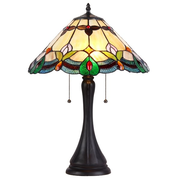 product lighted turtleback base table with free garden style lamp home tiffany