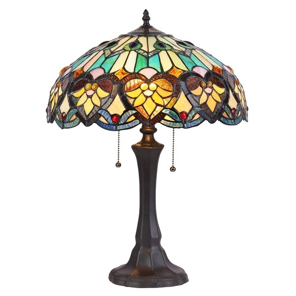 Kendall 16 inch 2 light tiffany style table lamp ch35576gv16 tl2 kendall 16 inch 2 light tiffany style table lamp ch35576gv16 tl2 aloadofball Images