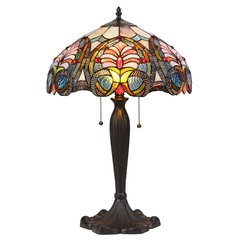 HAZEL 16 Inch 2 Light Tiffany Style Table Lamp, CH35511PV16-TL2
