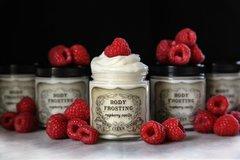 Organic Raspberry Vanilla Body Frosting, 4 oz glass jar.