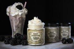Organic Blackberry Milkshake Whipped Body Frosting, 4 oz glass jar.