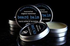 Black Amber and Lavender Beard Balm, 2 oz. Vegan. Organic Ingredients. Cruelty Free.