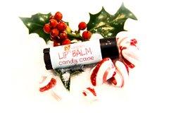 Candy Cane Vegan Lip Balm, Standard Oval Tube .15 oz Organic Ingredients.