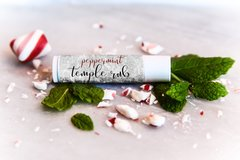 Organic Peppermint Temple Rub, Lip balm .15 oz size. Vegan. Cruelty Free.