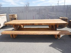 8' Dual Slab Pine Picnic Table
