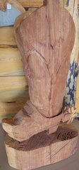 Toste Western Boot Chainsaw Sequoia Sculpture