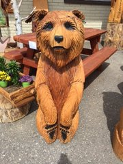 """Toste Hand Carved Sitting Bear 48"""" X 17"""""""