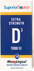 """Vitamin D3"" 5,000 IU (100 D-3 sublingual instant dissolve microtabs) by Superior Source $10.99"