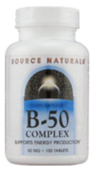Vitamin B-50 Complex, Yeast-Free 50mg (50 tabs) by Source Naturals $6.99