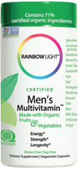 Certified Men's Multivitamin with Organic Fruit & Vegetables by Rainbow Light (120 Vegetarian Caps) $31.99