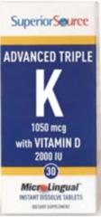Advanced Triple K - 1050 mcg with Vit. D (500 mcg K1) (500 mcg K2-MK4) (50 mcg K2-MK7) (2,000 IU Vit.D3 by Superior Source $18.99