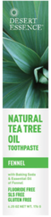 Natural Fluoride Free Tea Tree Oil Toothpaste With Baking Soda and Fennel (6.25 oz) by Desert Essence $5.99