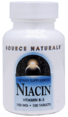 """Niacin"" 100 mg Vitamin B-3 100 tabs by Source Naturals $4.99"