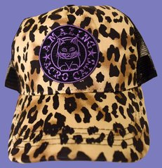 Trucker-Style Cheetah-Print Acro-Cap with Purple or Gray logo