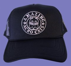 Trucker-Style Black Mesh-Back Acro-Cap with purple or gray logo