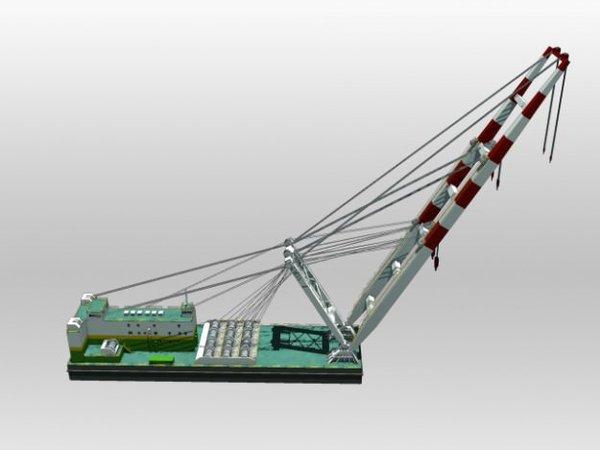 "1/96 36"" Sheerleg Crane Barge"