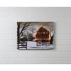 LED Christmas Barn Canvas