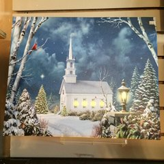 Lighted LED Church/Winter Scene Canvas