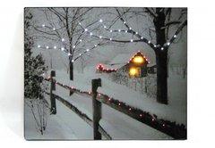 LED Lighted Fence W/Winter Scene