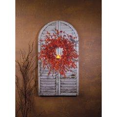 LED Bittersweet Wreath On Shutter Canvas