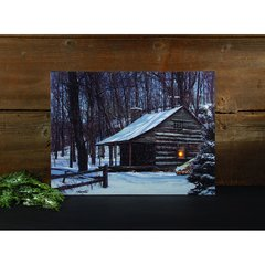 LED Snow Covered Log Cabin Canvas