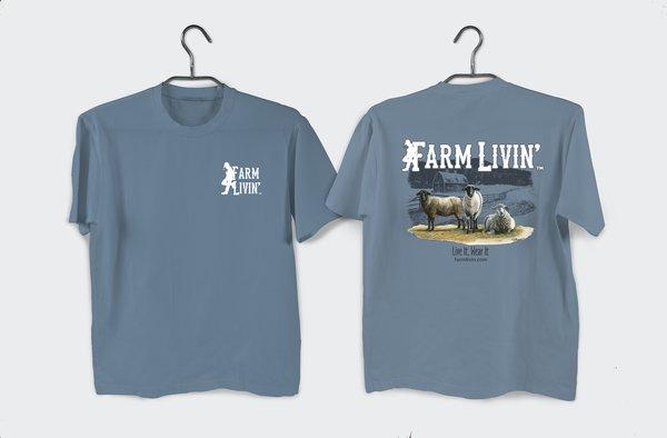 Indigo T-shirt/ Sheep Design