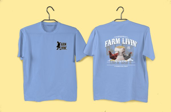 Lt. Blue T-shirt/ Chicken Design
