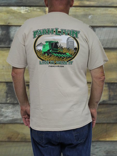 Tan T-Shirt/ Green Combine design