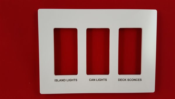 Lutron 3 Gang Screwless Trim Plate with Custom Etched Text, Assorted Colors