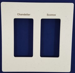 Lutron 2 Gang Screwless Trim Plate with Custom Etched Text, Assorted Colors