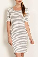 Leila Stripe Knit Sheath Dress- Heather Grey
