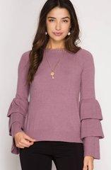 Zuna Sale- Adrianna Tiered Bell Sleeve Sweater