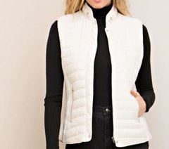 Zuna Sale- Tory Quilted Puffer Vest- Cream