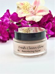 Fresh Clean Glow Resurfacing Facial Treatment. Hydration & Resurfacing Mask, for soft smooth skin. With Gentle Glycolic Enzymes suitable for all skin types, with Rose, Passion Fruit, Colloidal Oats, Hyaluronic, Aloe, Jojoba, Pineapple & Willowbark.