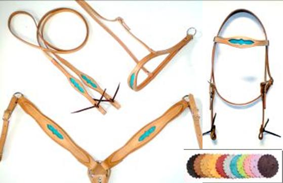 Ostrich Inlay Horse Tack Set