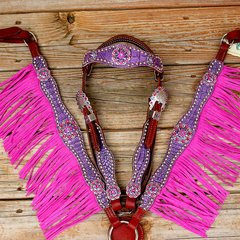 Antique Purple Gator/Chestnut Leather Fringe Browband Tack Set w/Fuchsia-Purple Crystal Rhinestone Conchos