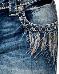 Miss Me Women's Indigo Signature Rise Feather Emblem Jeans - Boot Cut