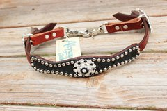 Black Gator Wither Strapw/Chestnut Leather/Jet & Clear Crystal Rhinestone Concho