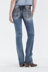 DON'T CROSS ME MID-RISE SLIM BOOT CUT JEANS