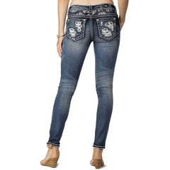 Miss Me Jeans Womens Red Stitched American Destructed Distressed Skinny