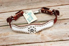 White Gator/Chestnut Leather Wither Strap w/Jet & Clear Crystal Rhinestone Concho