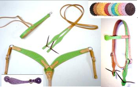 Ostrich Overlay Headstall Breast Collar and Reins