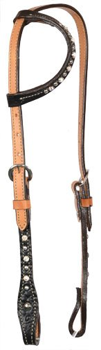 ALAMO BLACK GATOR ONE EAR HEADSTALL