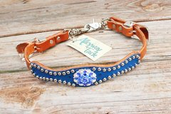 Royal Blue Ostrich/Tan LeatherWither Strap w/Sapphire Crystal Rhinestone Concho