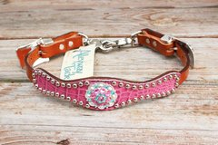 Rose Pink Gator/Tan Leather Wither Strap w/Turquoise & Pink Crystal Rhinestone Concho
